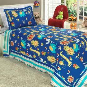 Kit: 1 Cobre-leito Solteiro Kids Bouti de Microfibra PatchWork Ultrasonic + 1 Porta-travesseiro - Animal Show Azul - Dui Design