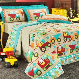 Jogo de Cama Solteiro Kids 150 fios - Carros Bege - Dui Design