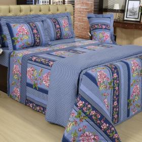 Kit: 1 Cobre-leito Solteiro + 1 Porta-travesseiro 150 fios - Elana Azul - Dui Design