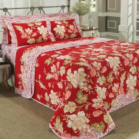 Kit: 1 Cobre-leito Solteiro + 1 Porta-travesseiro 150 fios - Evitha Vermelho - Dui Design