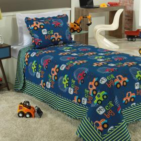 Kit: 1 Cobre-leito Solteiro Kids Bouti de Microfibra PatchWork Ultrasonic + 1 Porta-travesseiro - Jeep Azul - Dui Design