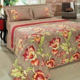 Kit: 1 Cobre-leito Solteiro + 1 Porta-travesseiro Percal 180 fios - Krisse Vermelho - Dui Design
