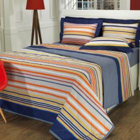 Kit: 1 Cobre-leito Solteiro + 1 Porta-travesseiro 150 fios - Montecarlo Azul - Dui Design
