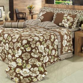 Kit: 1 Cobre-leito Solteiro + 1 Porta-travesseiro 150 fios - Narcisa Caf� - Dui Design