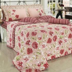 Kit: 1 Cobre-leito Solteiro + 1 Porta-travesseiro 150 fios - Narcisa Rosa Velho - Dui Design