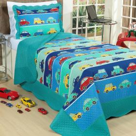 Kit: 1 Cobre-leito Solteiro Kids Bouti de Microfibra PatchWork Ultrasonic + 1 Porta-travesseiro - Parking Azul - Dui Design